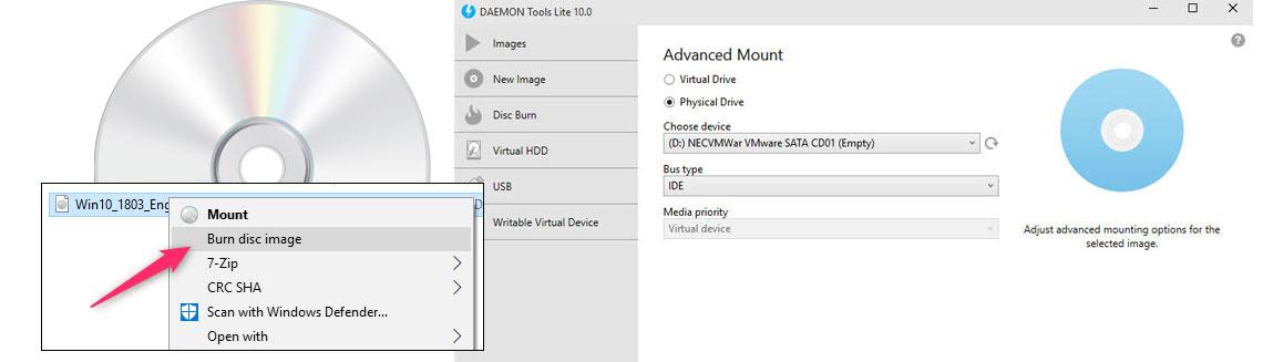 Imagem ISO em um CD e software para criação e gravação de imagem ISO