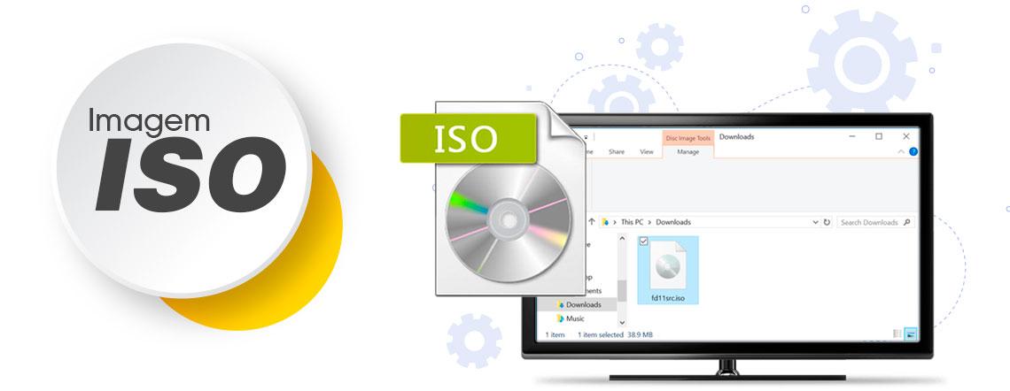 Imagem ISO em um computador com a tela aberta com a pasta de arquivos constando um arquivo .iso